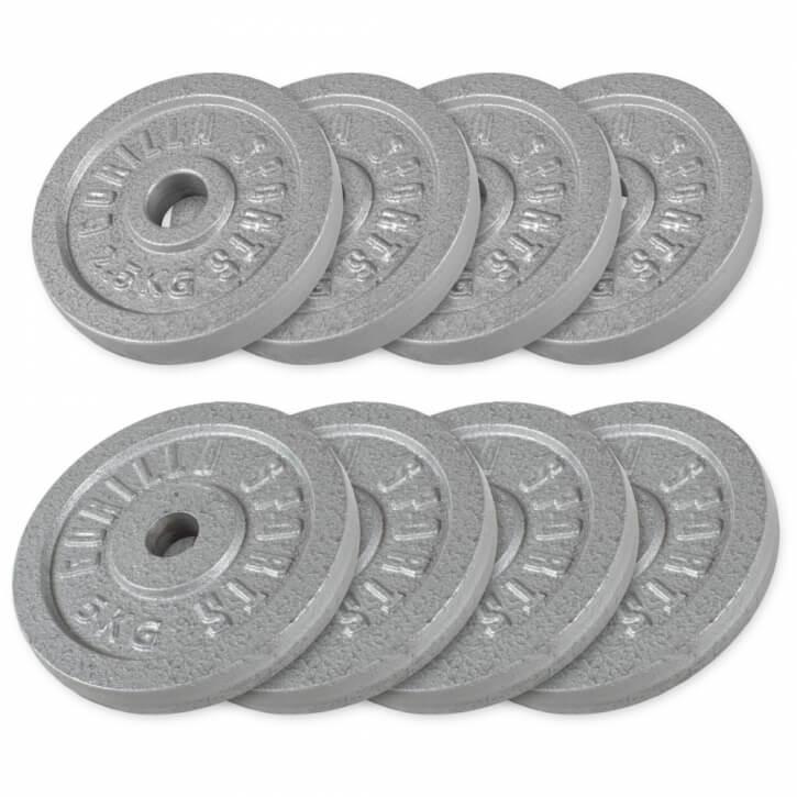 Hantelscheibenset Gusseisen 30 kg - 4 x 2,5 - 4 x 5 kg