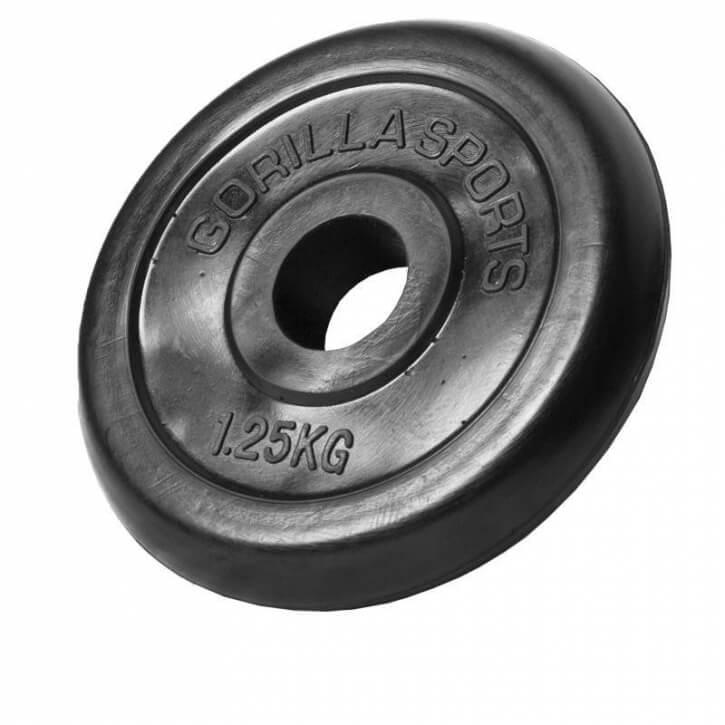 Hantelscheiben Gummi 1,25 KG - Gorilla Sports