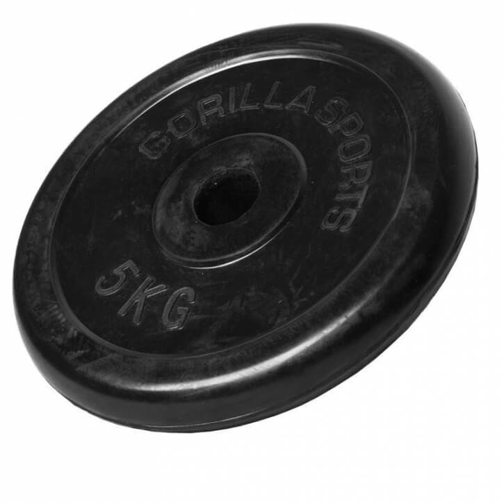 Hantelscheiben Gummi 5 KG - Gorilla Sports