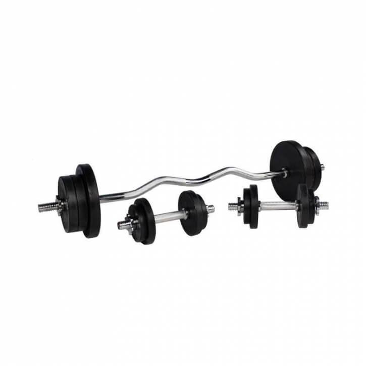 70 KG Black Rubber Sz-Curlhantelset - Gorilla Sports
