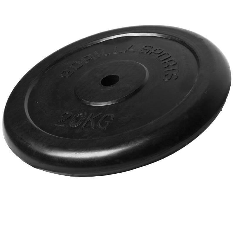 Hantelscheiben Gummi 20 KG - Gorilla Sports